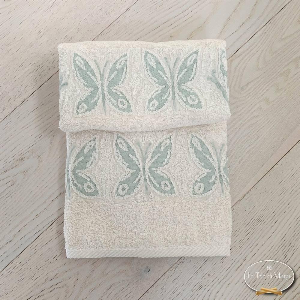 Asciugamani farfalle acquamarina