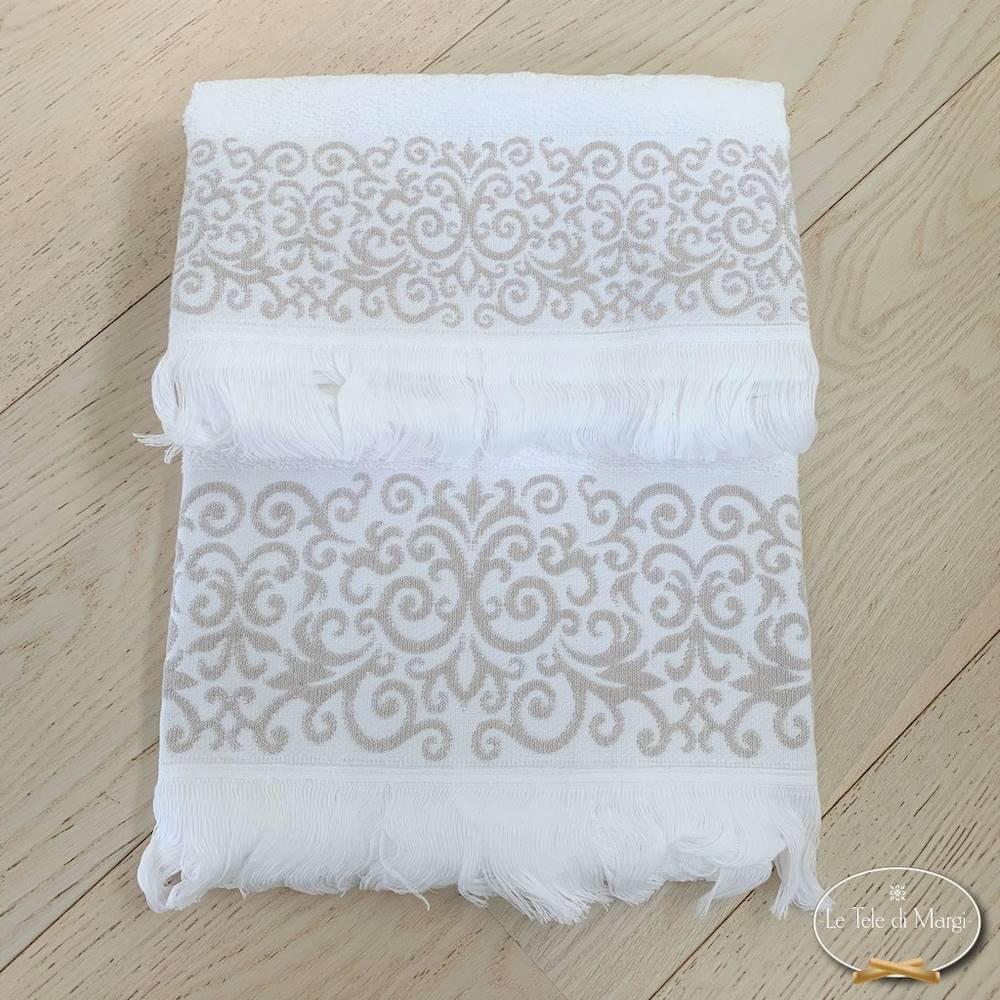 Asciugamani arabesco sfrangiato bianco