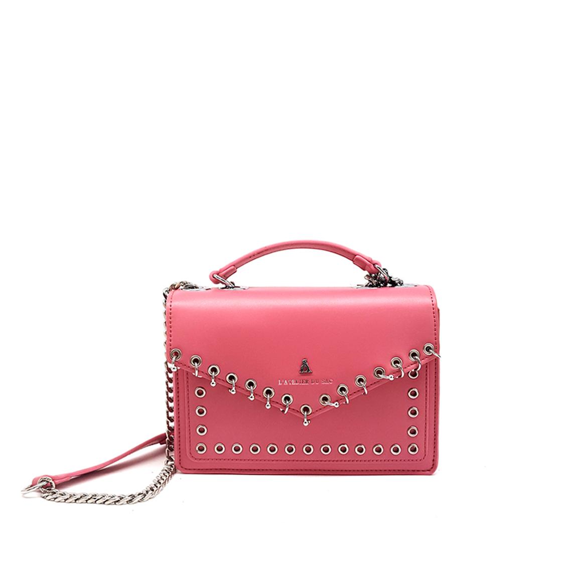 Borsa a tracolla rosa con piercing PashBag