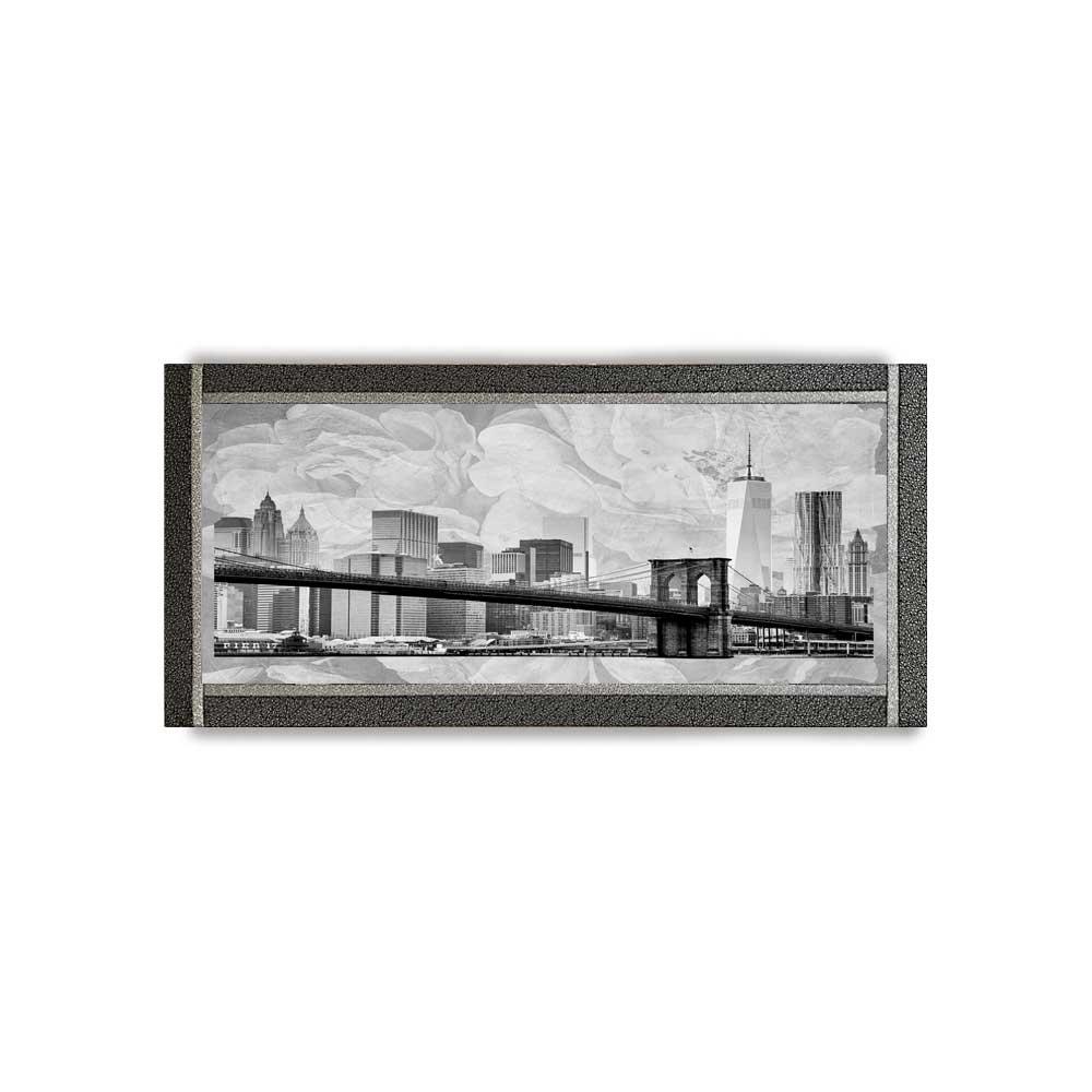Quadro Ariel ecopelle nera metropoli 4 canvas+glitter argento 132x62 fatto a mano