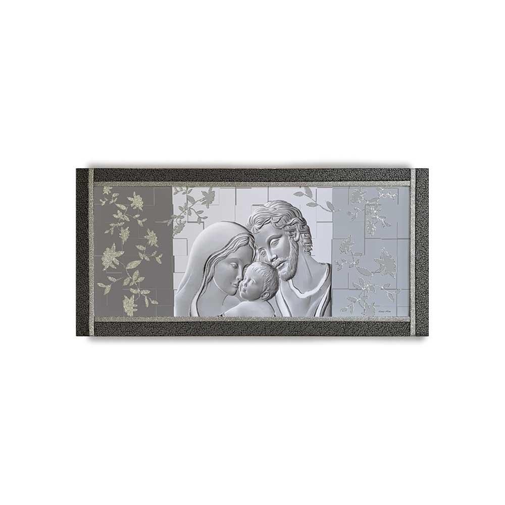 Quadro Ariel ecopelle nera capezzale sacra famiglia 1 canvas+ argento 132x62cm