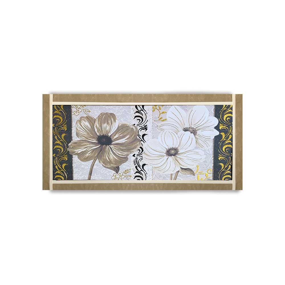 Quadro Ariel ecopelle beige floreale 18 canvas+glitter oro e nero 132x62cm