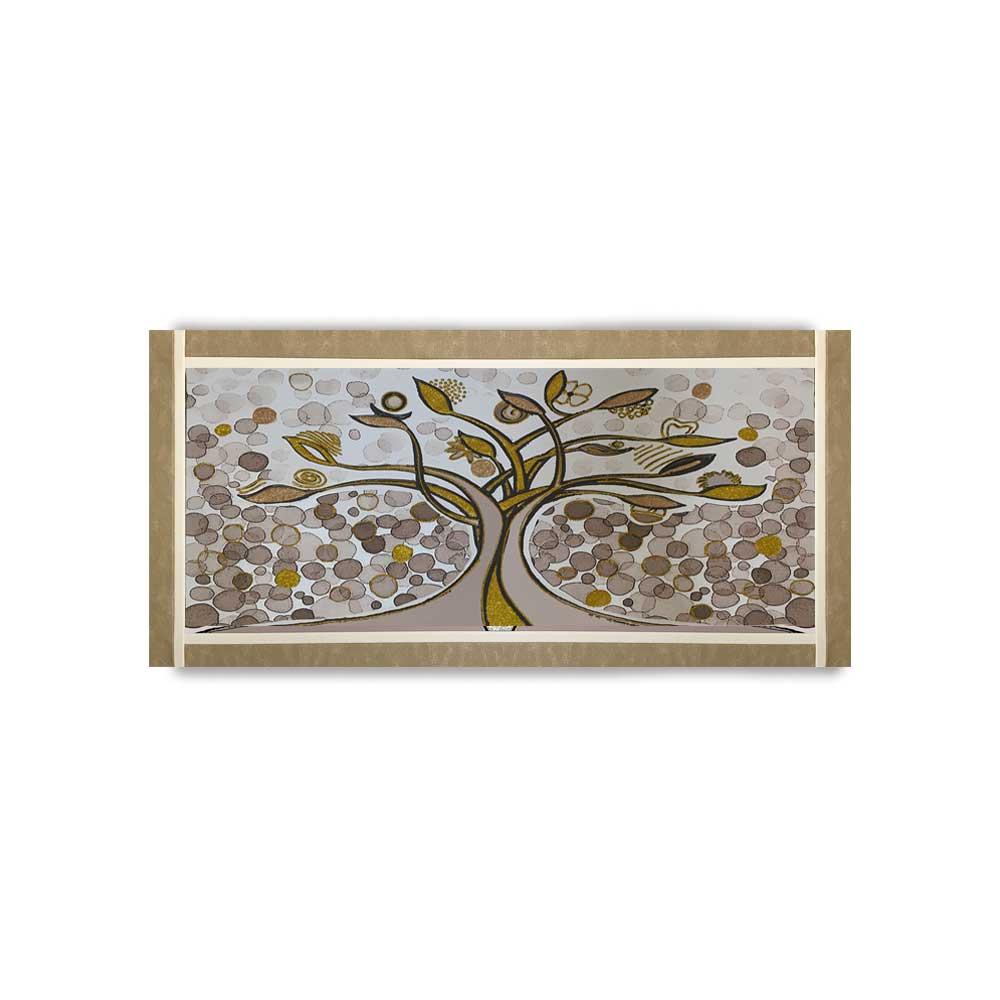 Quadro Ariel ecopelle beige albero della vita 26 canvas+glitter oro rame 132x62