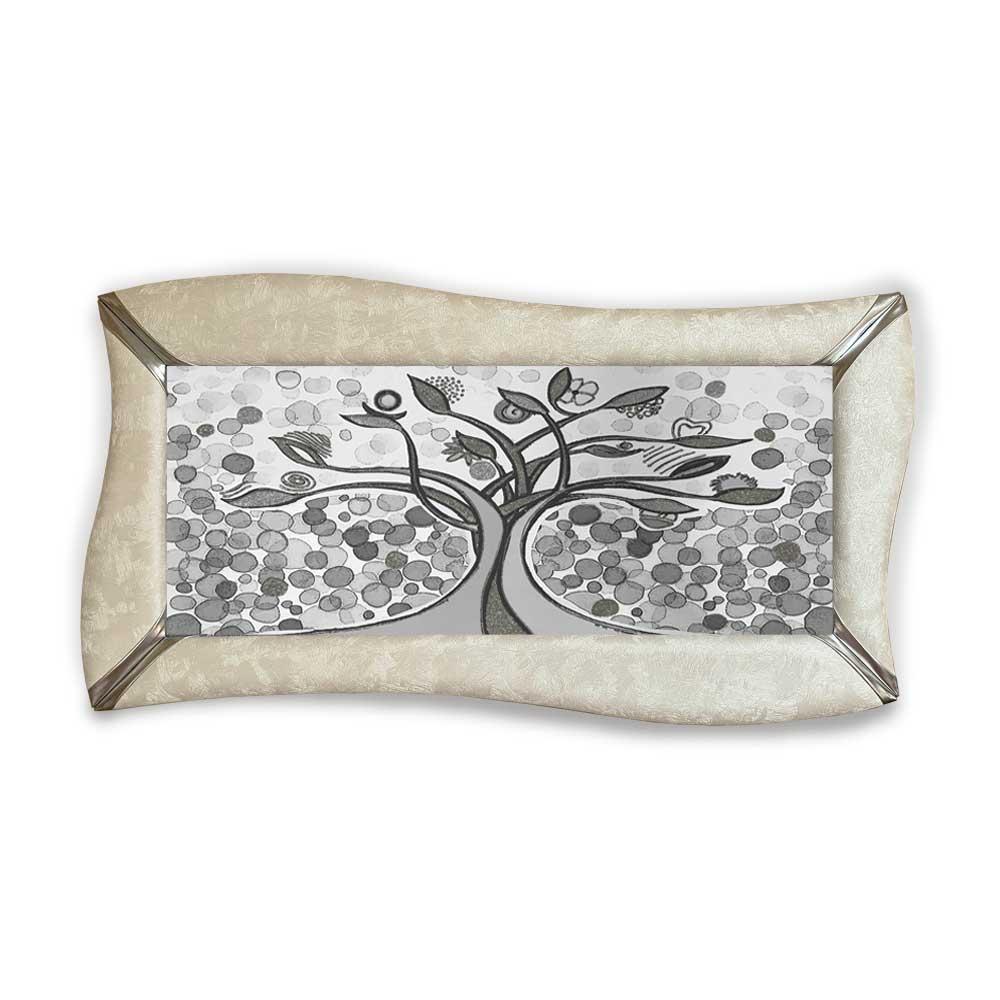 Quadro betti ecopelle crema albero della vita 26 argento 148x78cm artigianale
