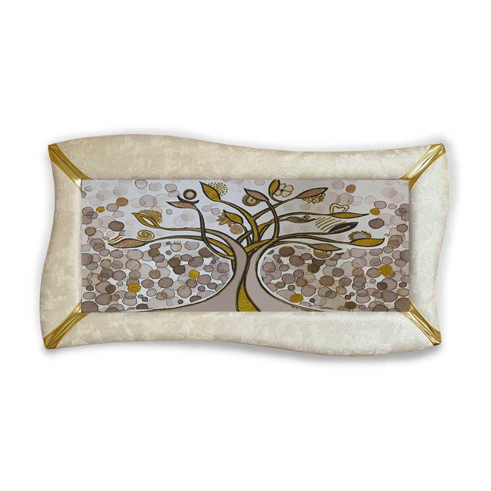 Quadro betti ecopelle crema albero della vita 26 glitter oro 148x78cm artigian.