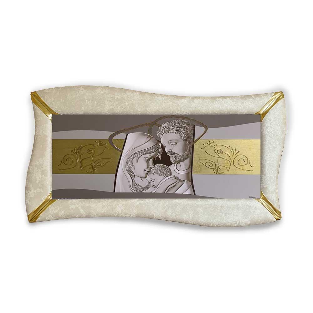 Quadro betti ecopelle crema capezzale sacra famiglia 7 glitter oro 148x78cm