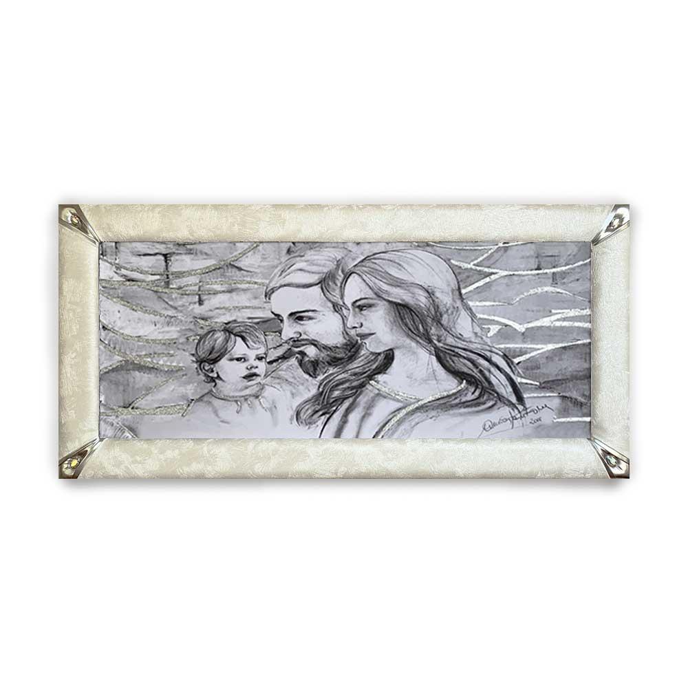 Quadro boreale ecopelle crema capezzale sacra famiglia 19 glitter argento 139x69