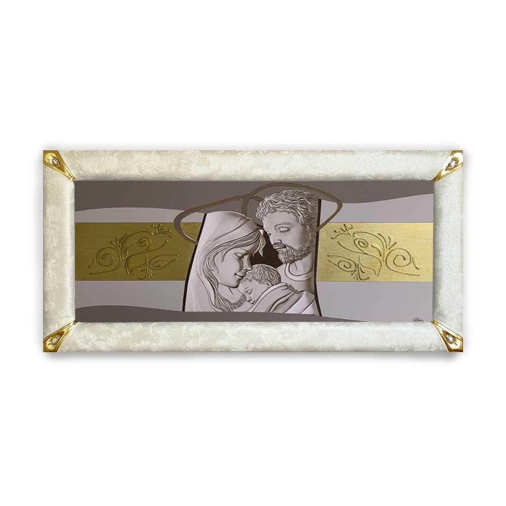 Quadro boreale ecopelle crema capezzale sacra famiglia 7 glitter oro 139x69cm