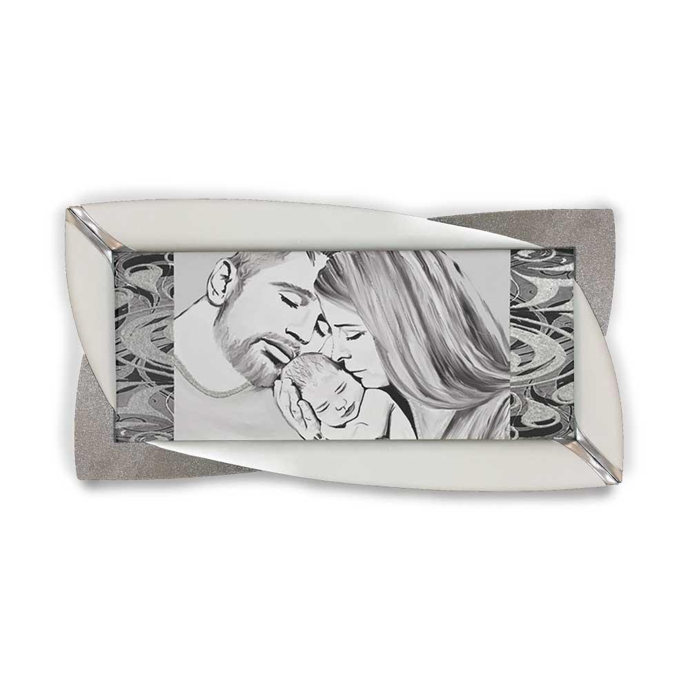 Quadro Glamour ecopelle legno bianco capezzale sacro 20 glitter argento 145x75cm