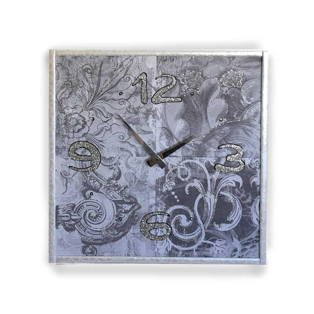 Orologio da parete cornice ecopelle bianca decori 16 glitter argento nero 57x57