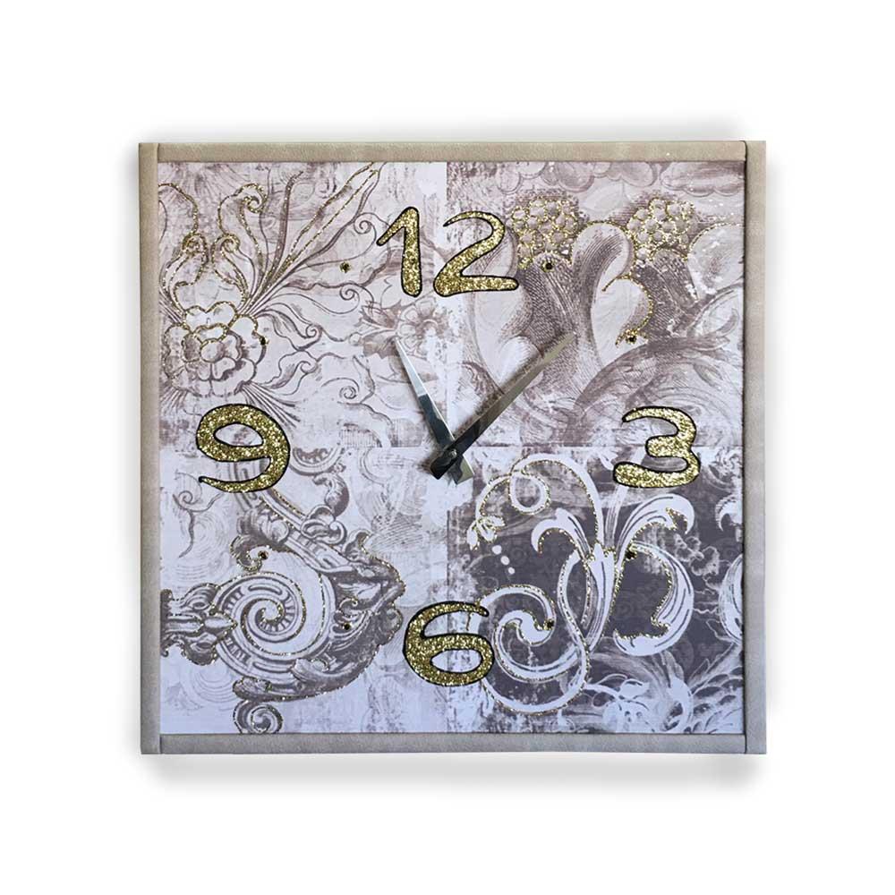 Orologio da parete cornice ecopelle bianca decori 16 glitter oro nero 57x57