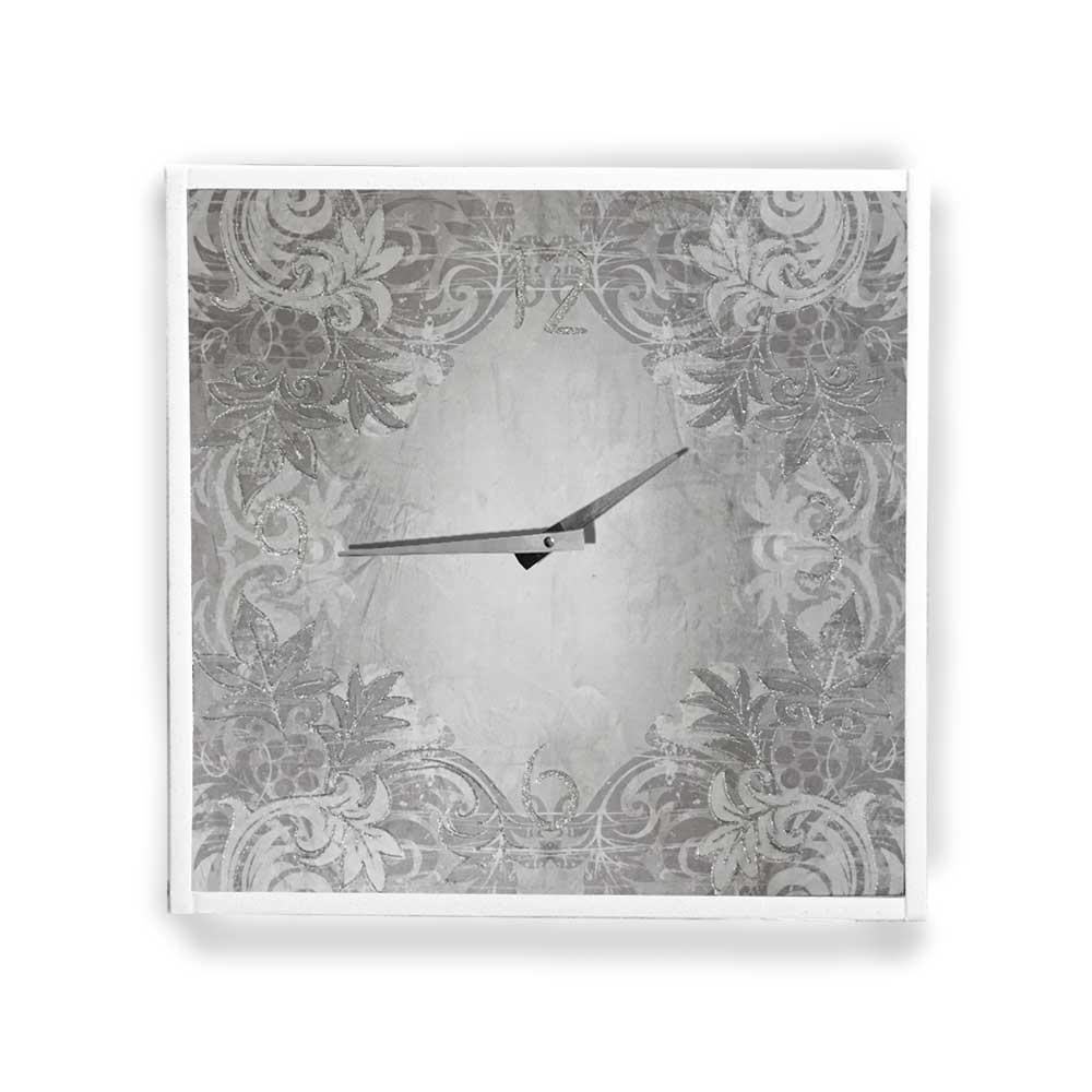 Orologio da parete cornice ecopelle bianca floreale 25 glitter argento 57x57 cm