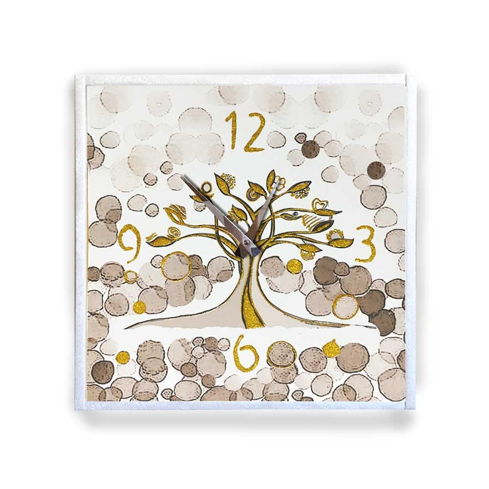 Orologio da parete cornice ecopelle crema albero vita 26 glitter oro 57x57 cm