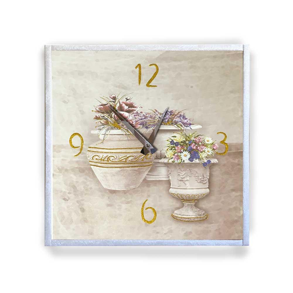 Orologio da parete cornice in ecopelle crema floreale 28 glitter oro 57x57 cm