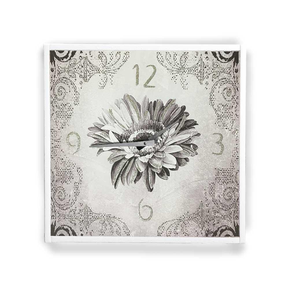 Orologio da parete cornice ecopelle bianca floreale 30 glitter argento 57x57 cm