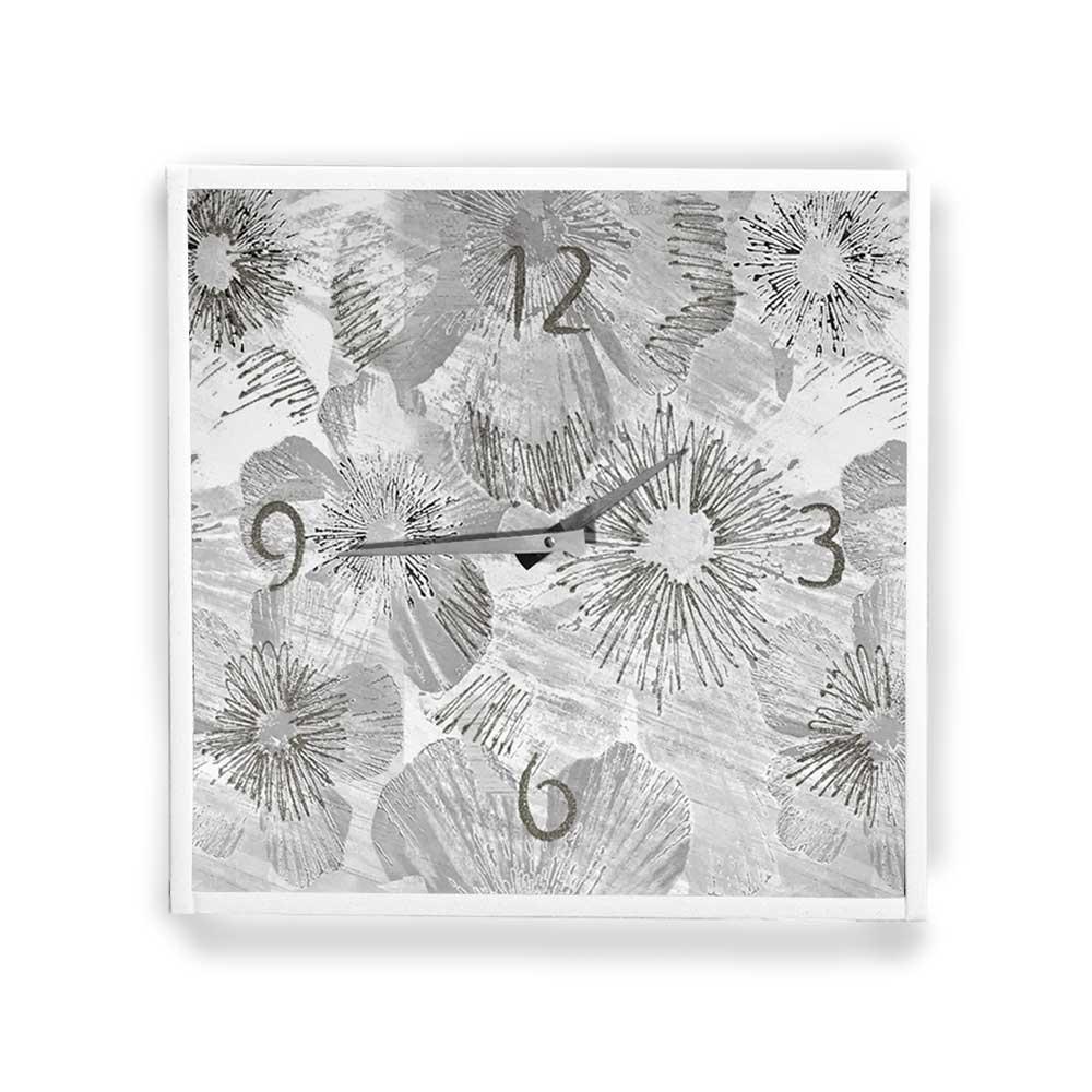 Orologio da parete cornice ecopelle bianca astratto 34 glitter argento 57x57 cm