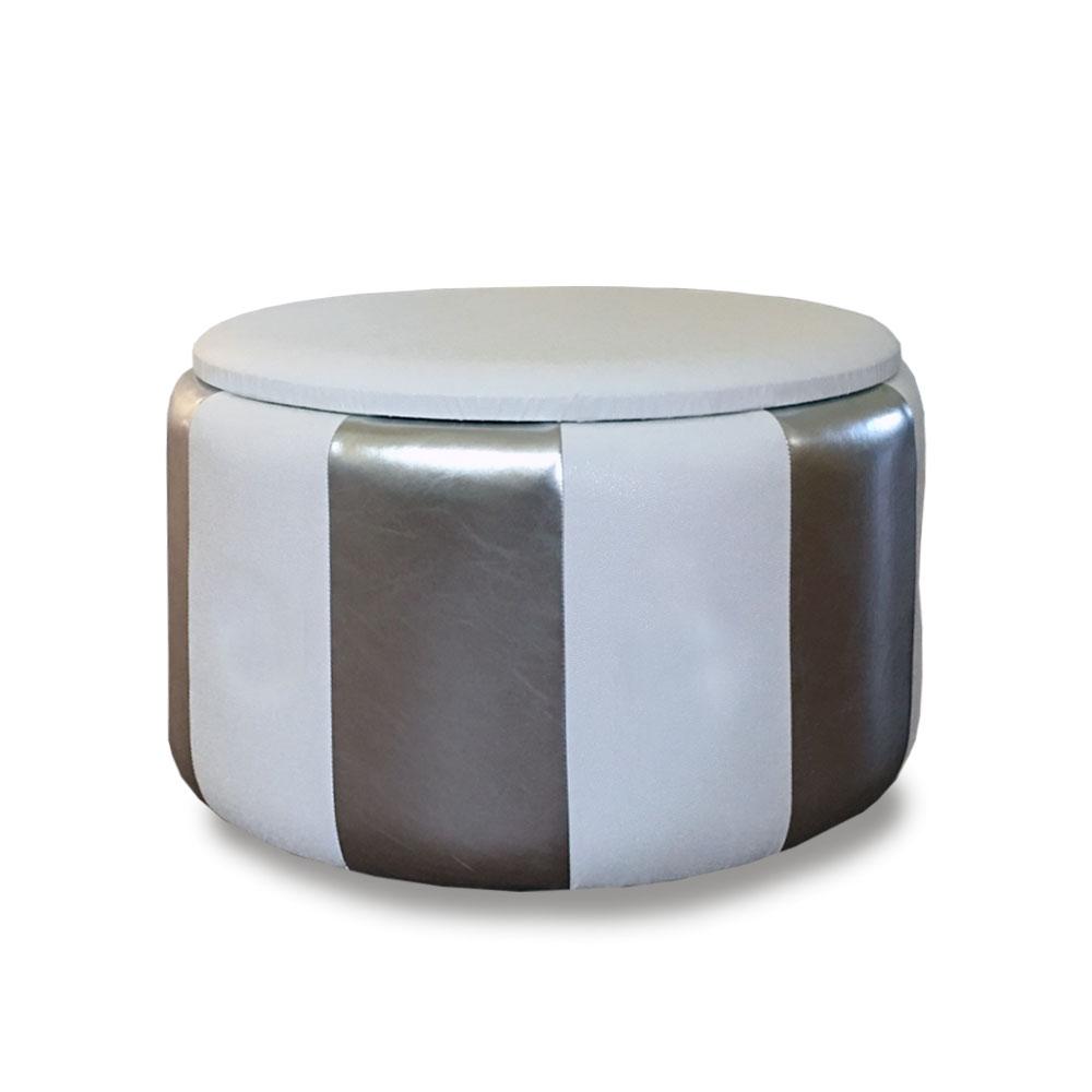 Pouf Beverly contenitore in ecopelle bianco argento diam 65x42cm lav artigianale