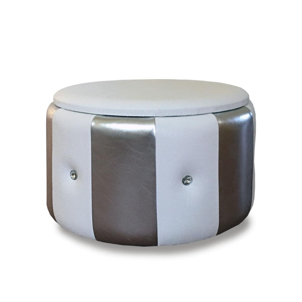 Pouf Beverly contenitore in ecopelle bianco argento diam 65x42cm con strass
