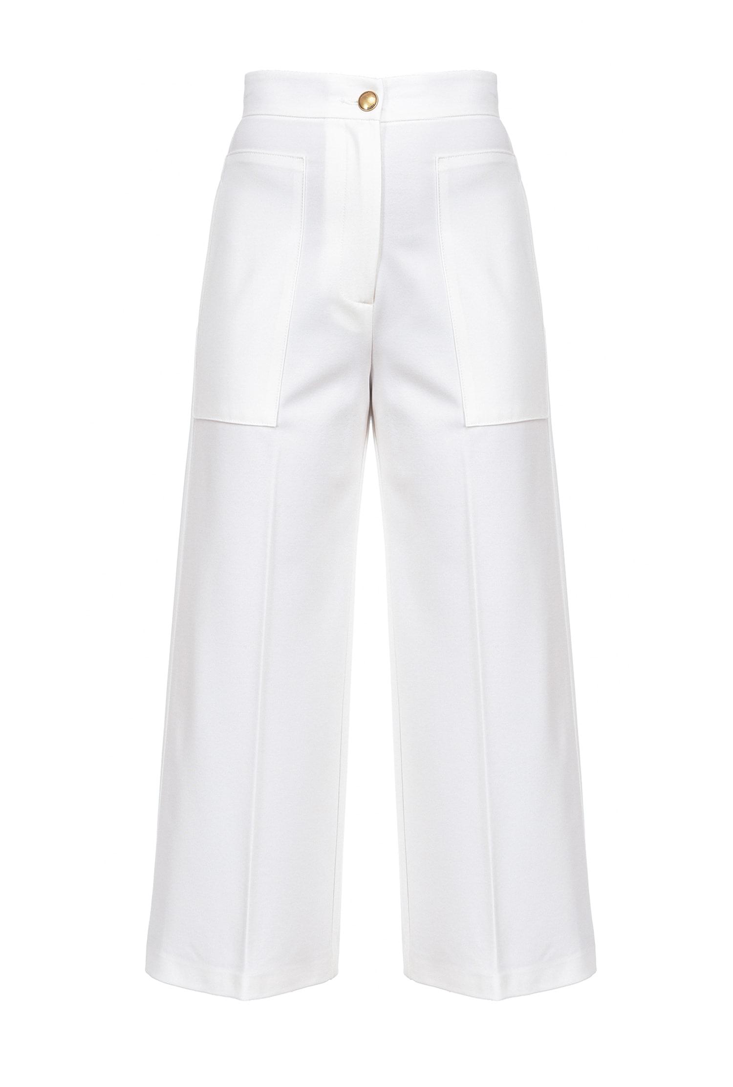 Pantaloni Svelto ampi effetto scuba bianco Pinko