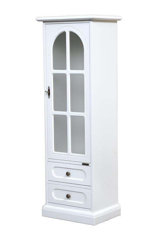 Vitrina laqueada 1 puerta dos cajones