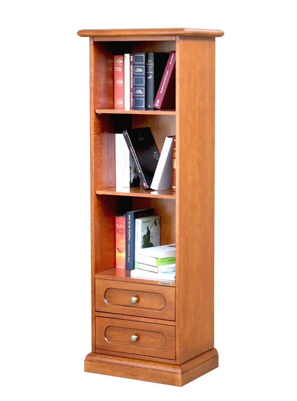 Raumsparendes Bücherregal aus Holz mit 2 Schubladen