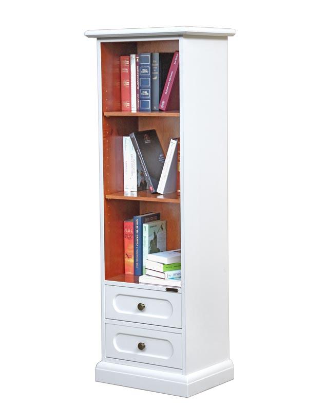 Libreria stretta bicolore con 2 cassetti