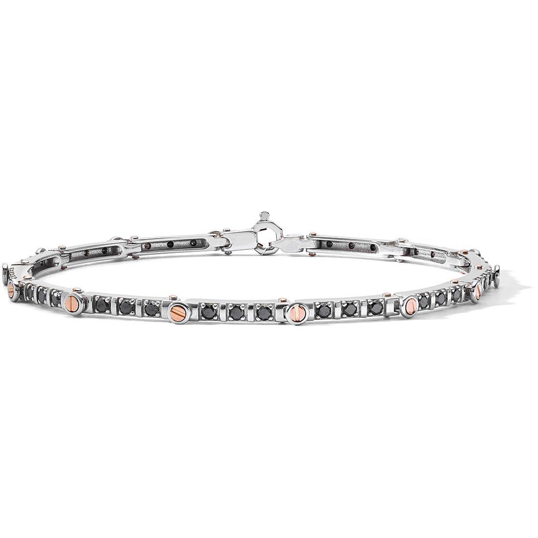 COMETE UOMO-Bracciale oro bianco e diamanti neri