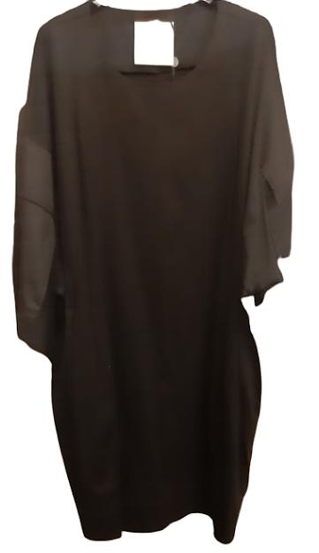 Abito donna | in maglia di cotone nero | manica 3/4 | Made in Italy