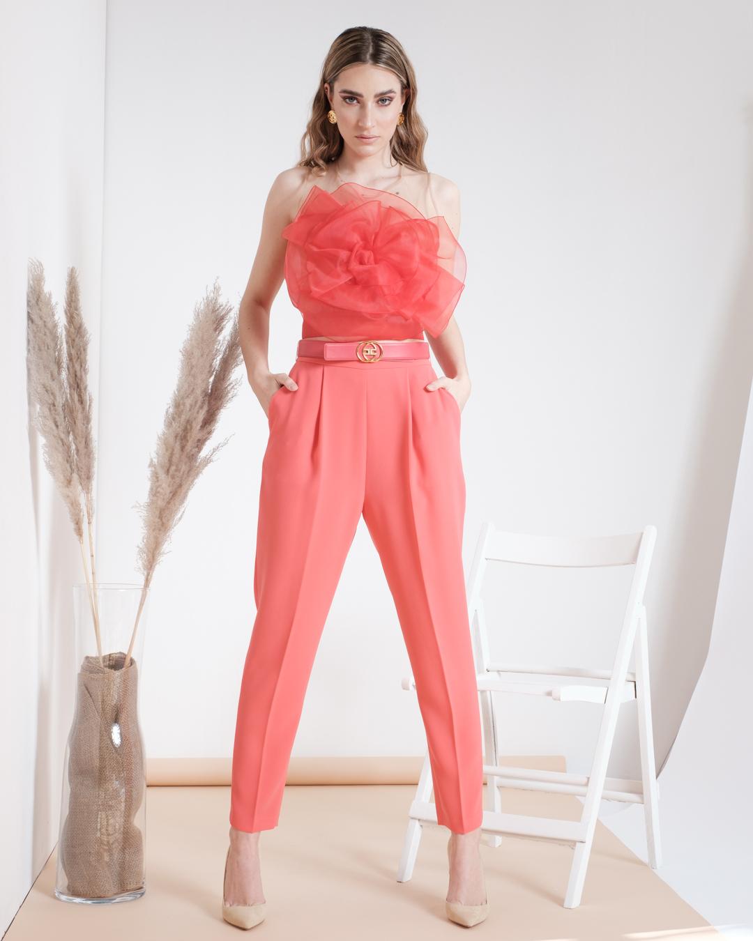 Pantalone Amaranto Skinny Con Cintura Elisabetta Franchi SS21