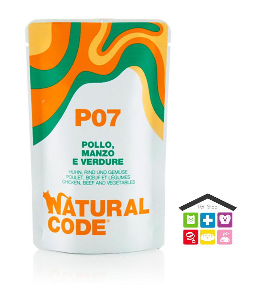 Natural code P07 POLLO, MANZO E VERDURE busta 0,70g