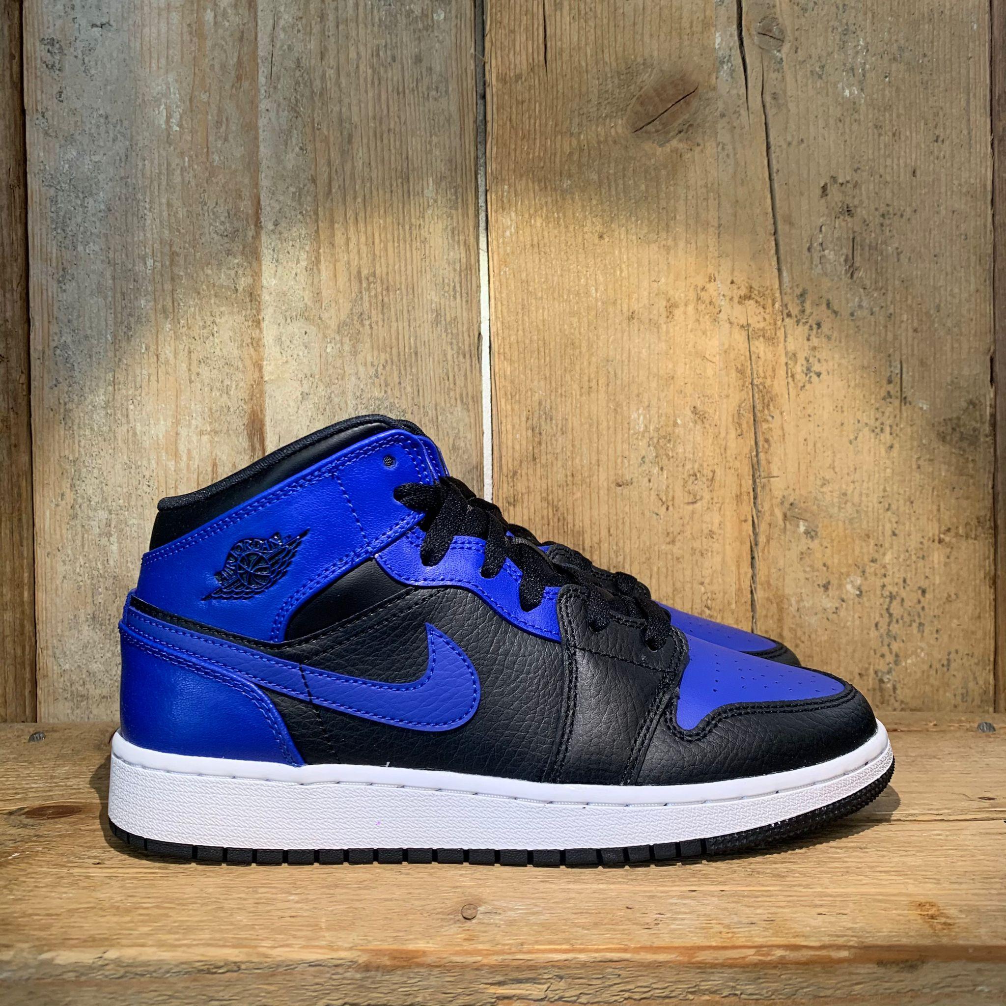 Scarpa Air Jordan 1 Mid (Gs) Blu Royal E Nera