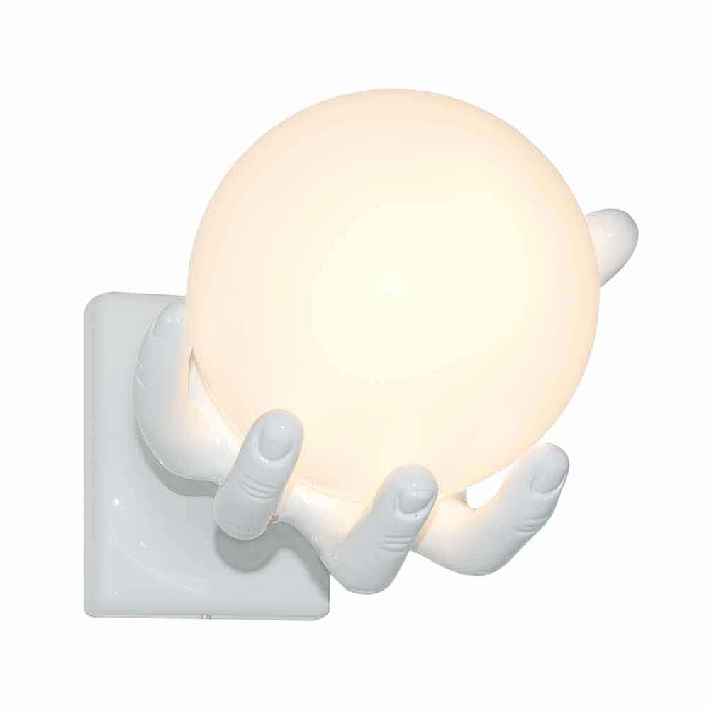 Lampada da parete Mano Globo in resina bianco lucido Made in Italy