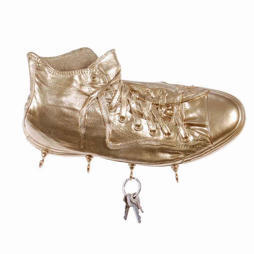 Portachiavi da parete Sneakers Richie in resina oro Made in Italy