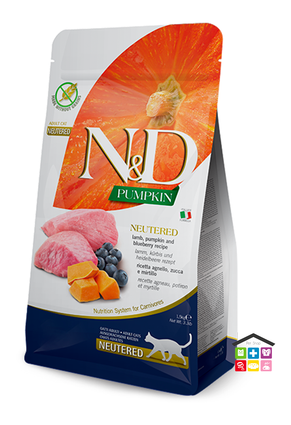 Farmina n&d gatto NEUTERED, LAMB, PUMPKIN AND BLUEBERRY ADULT 1,5kg