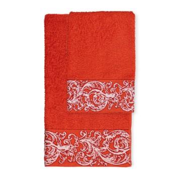 Asciugamani con greca in tonalità corallo