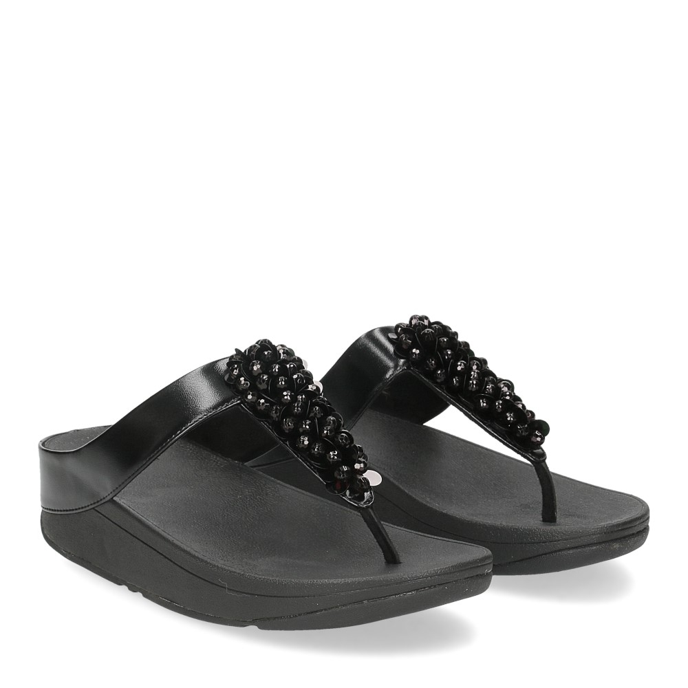 Fitflop Fino Sequin toe thongs all black