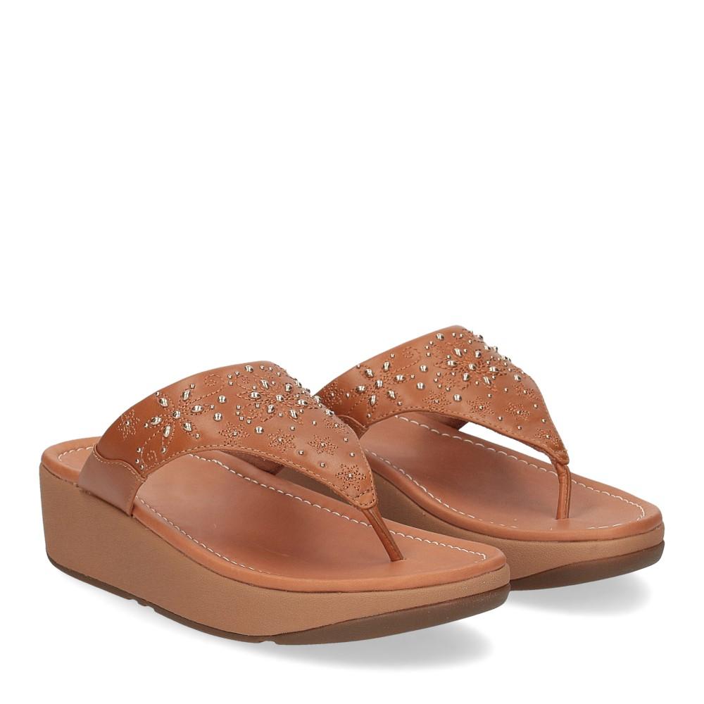 Fitflop Mya Floral stud toe thongs light tan
