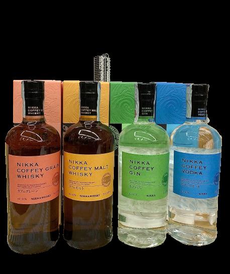 Nikka Coffey Box 4 Bott. cl. 70 - Gin, Vodka, Coffey Malt, Coffey Grain-