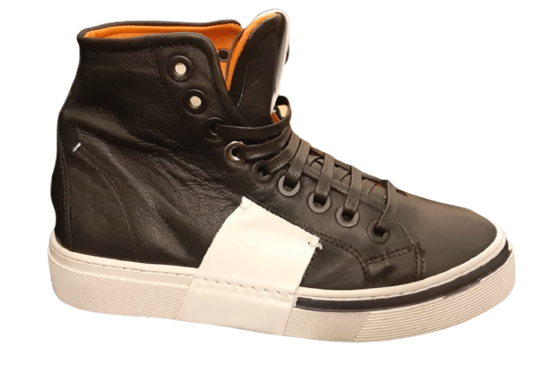 Sneakers alta donna  100% pelle  nera inserto bianco   Made in Italy