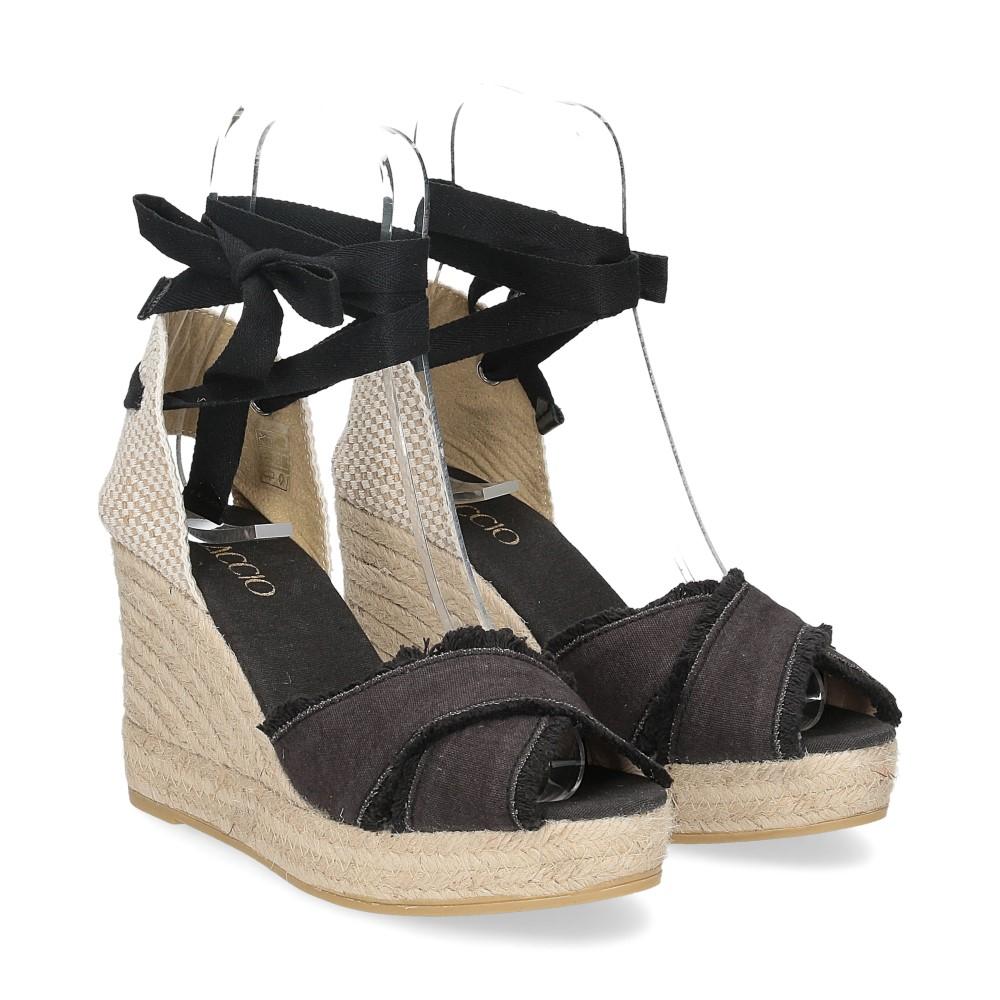 Il Laccio Sandalo espadrillas astra tessuto nero