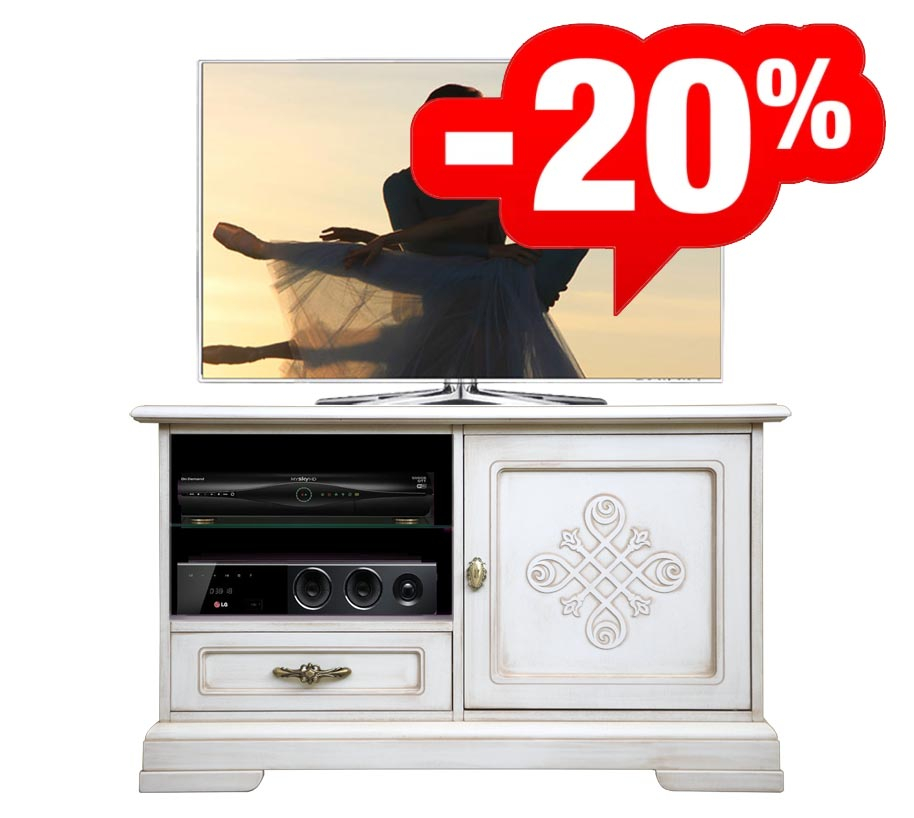PROMO ! Meuble TV avec frise - finition Ivoire très vieilli