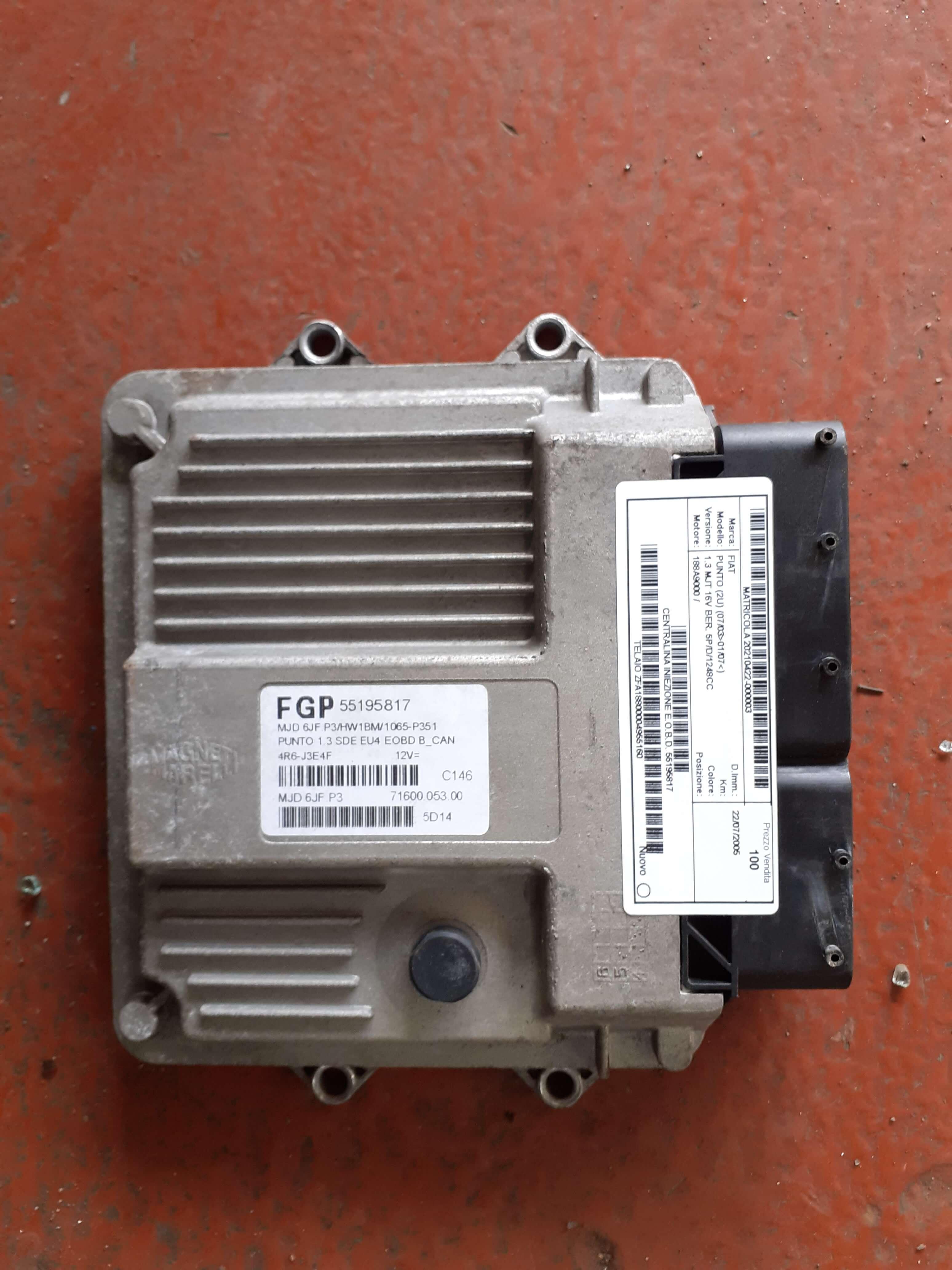 Centr. iniezione usata F. Punto 3à serie cod. 55195817