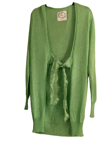 Cardigan lungo donna | cotone e viscosa | verde | nastro in pizzo | Made in Italy