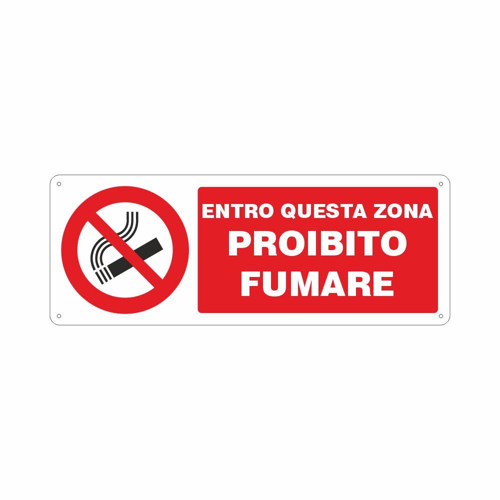 Cartello Entro questa zona proibito fumare