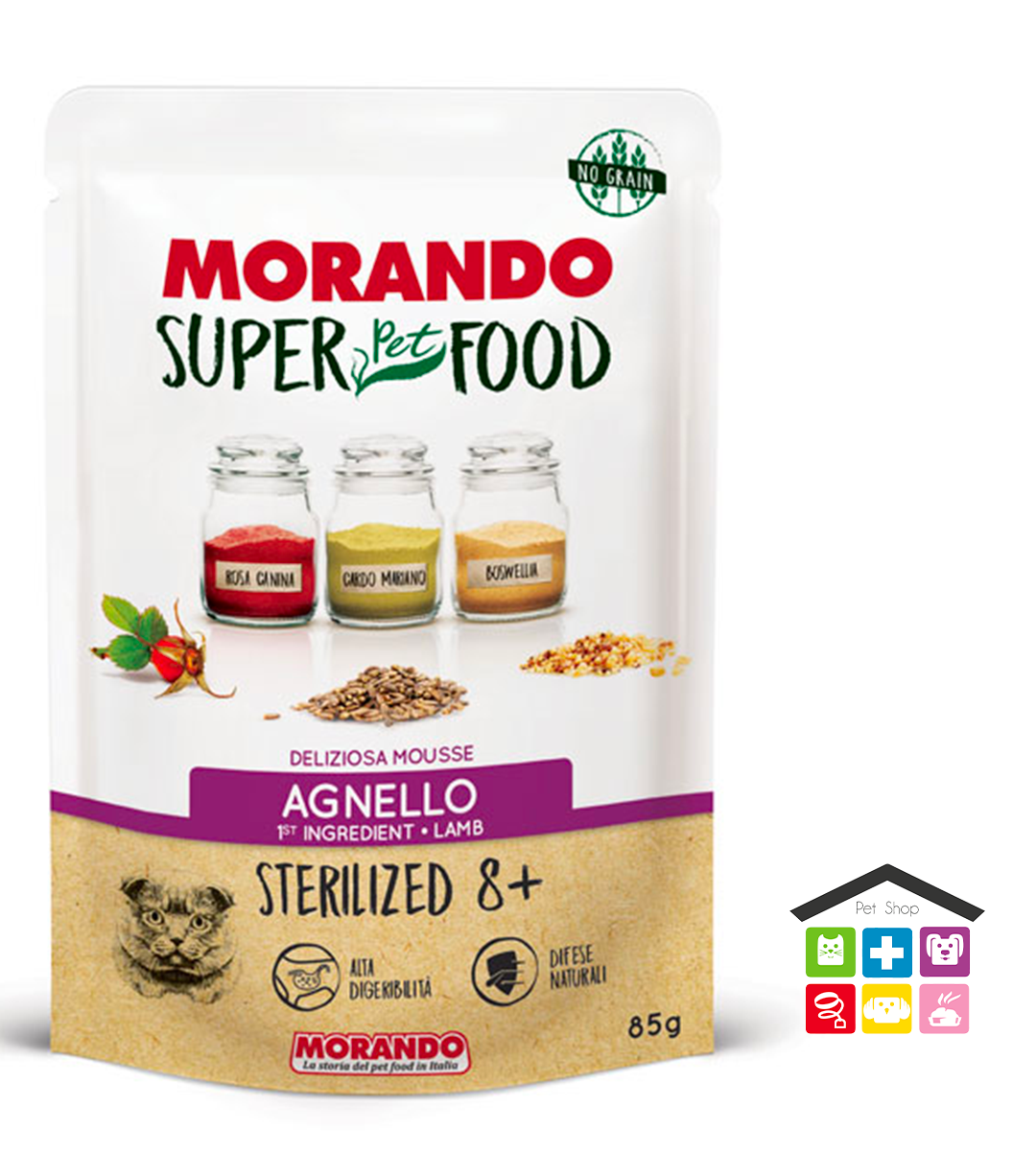 Morando SuperPetFood STERILIZED 8+ MOUSSE AGNELLO 0,85g bustina