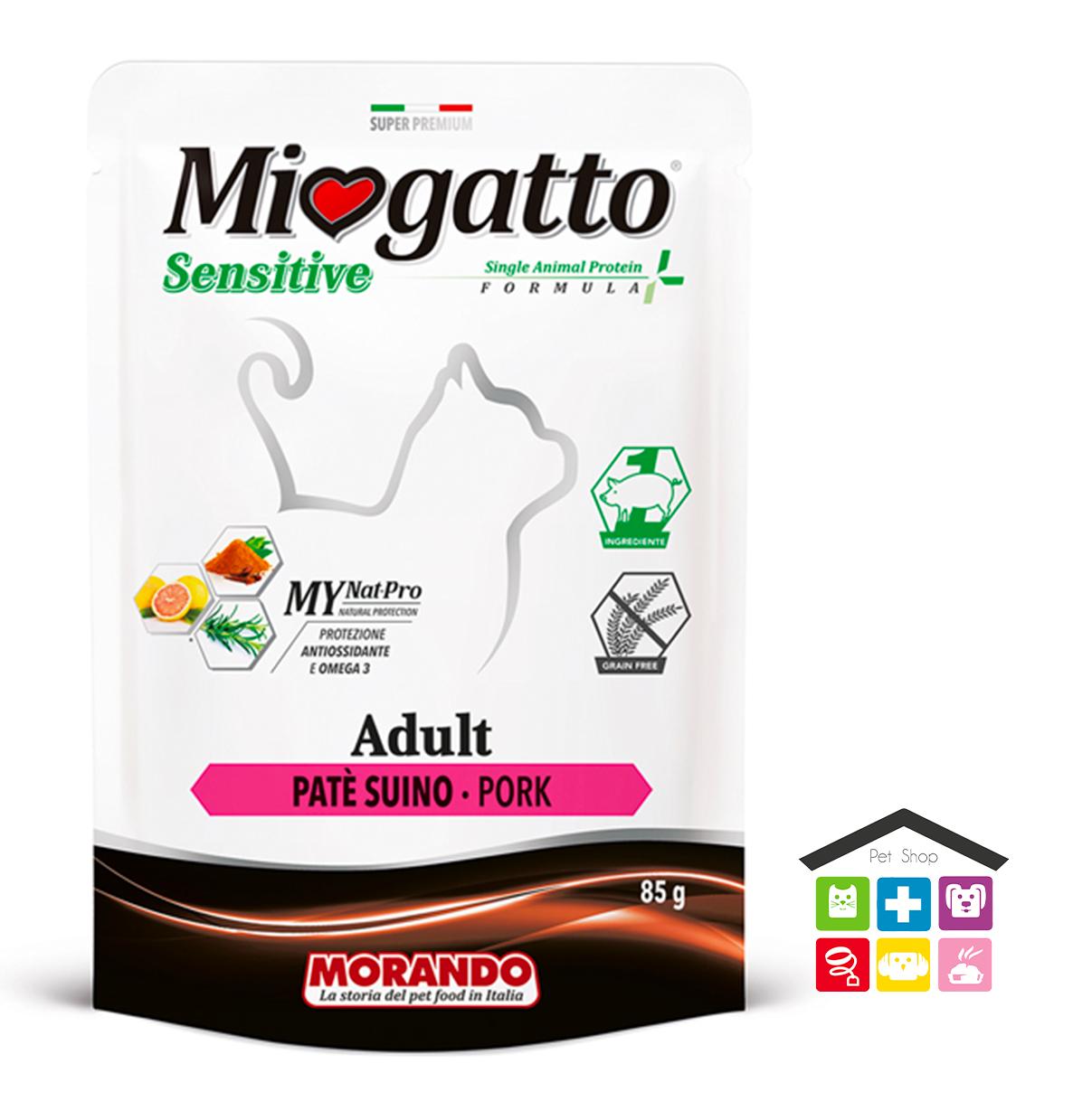 Miogatto ADULT SENSITIVE PATÈ SUINO 0,85 bustina