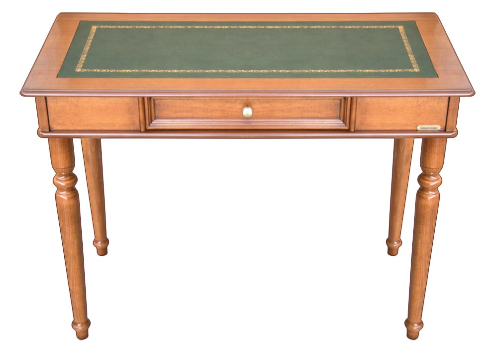 Wooden desk with leather top