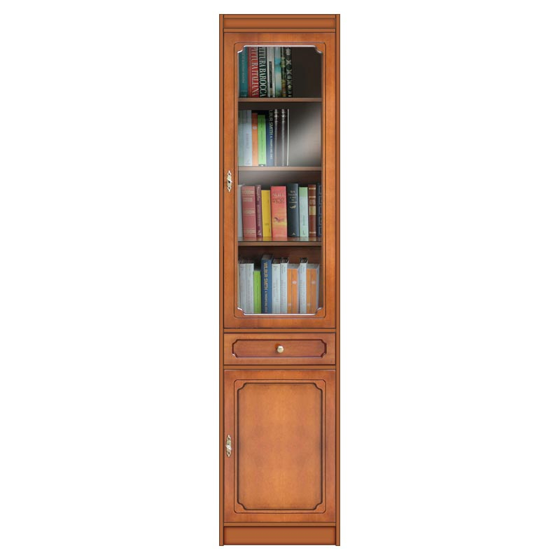 Modular bookcase with glass door