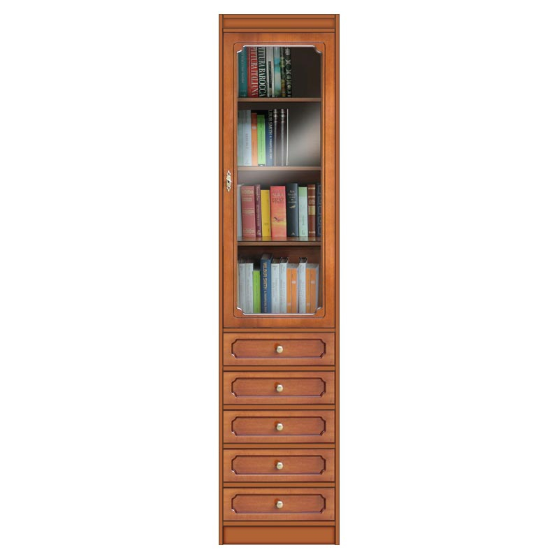 Modular bookcase with 5 drawers and glass door