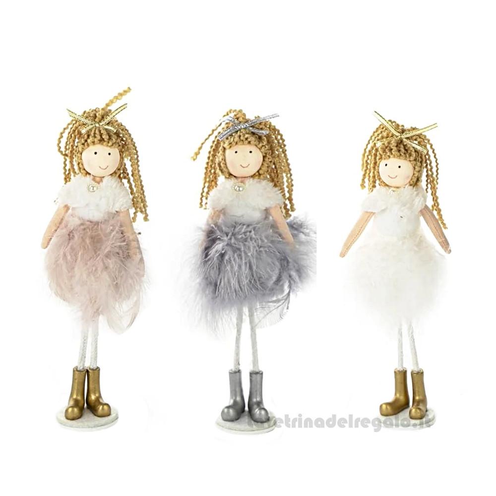 Bambolina Tina con gonna piumata in piedi 19 cm - Bomboniera bimba